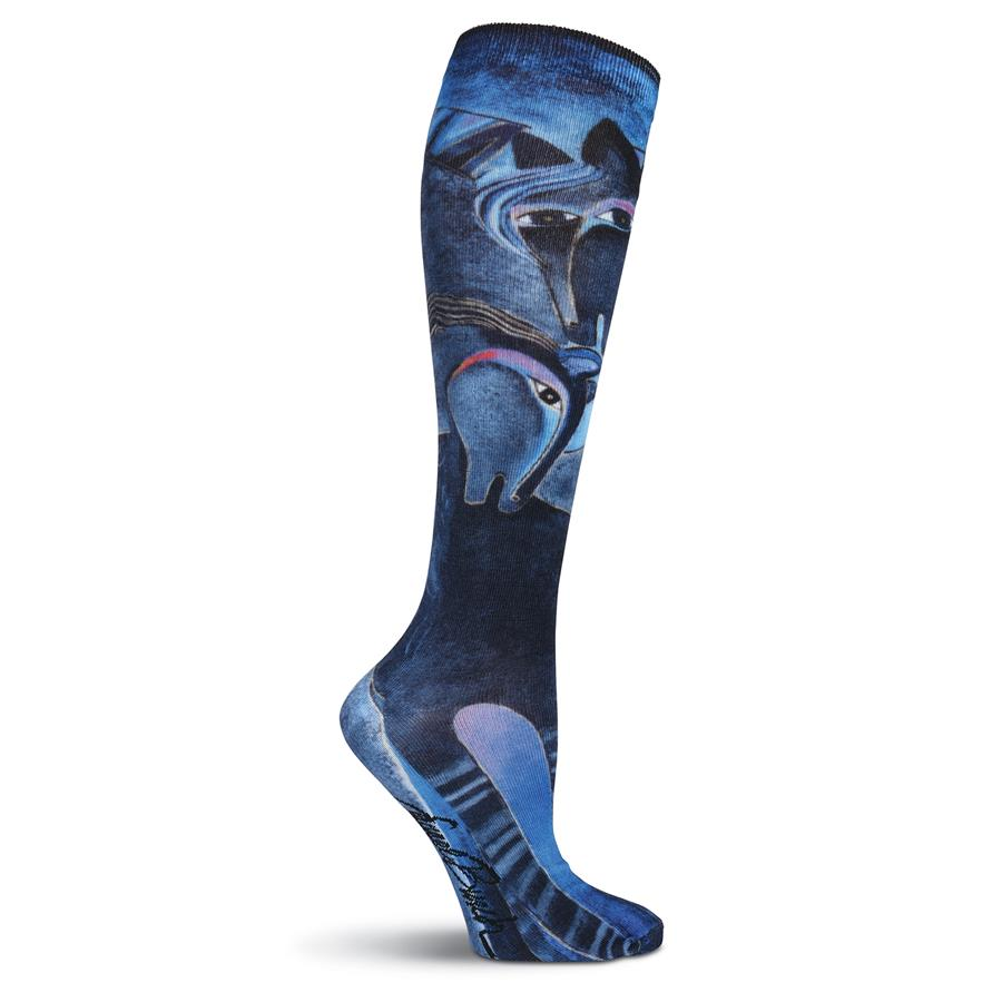 Laurel Burch Women's Indigo Horses 360 Print Knee High Socks LBWF16N00101 | Ann's By Design