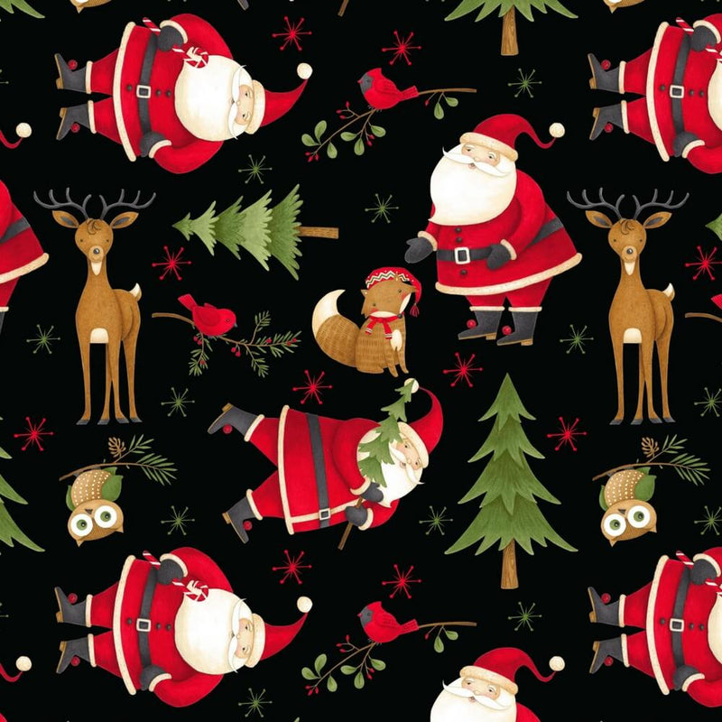 Santa & Friends By Debbie Mumm Santa and Woodland Friends Toss Black Fabric Yardage 67545-937 | Ann's By Design
