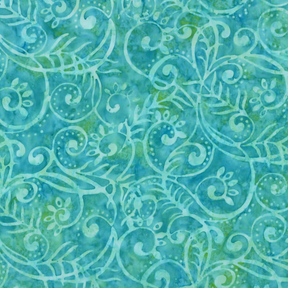 Wilmington Batiks Scrolly Leaves Bright Aqua/Teal Fabric Yardage 22109-747 | Ann's By Design