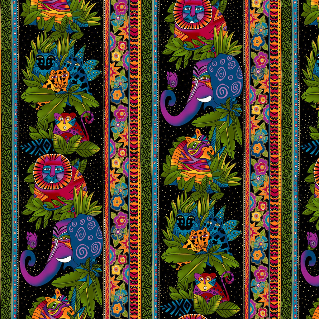Wild Ones Flannel by Laurel Burch Black Jungle Stripe Fabric Yardage Y2326-03 | Ann's By Design