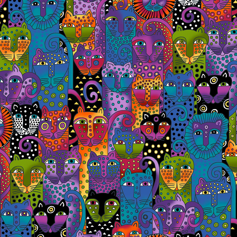 Wild Ones Flannel by Laurel Burch Black Jungle Cat Collage Fabric Yardage Y2328-55 | Ann's By Design