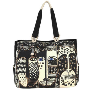 Laurel Burch Oversized Tote Bag Wild Cat Black & White - LB5800