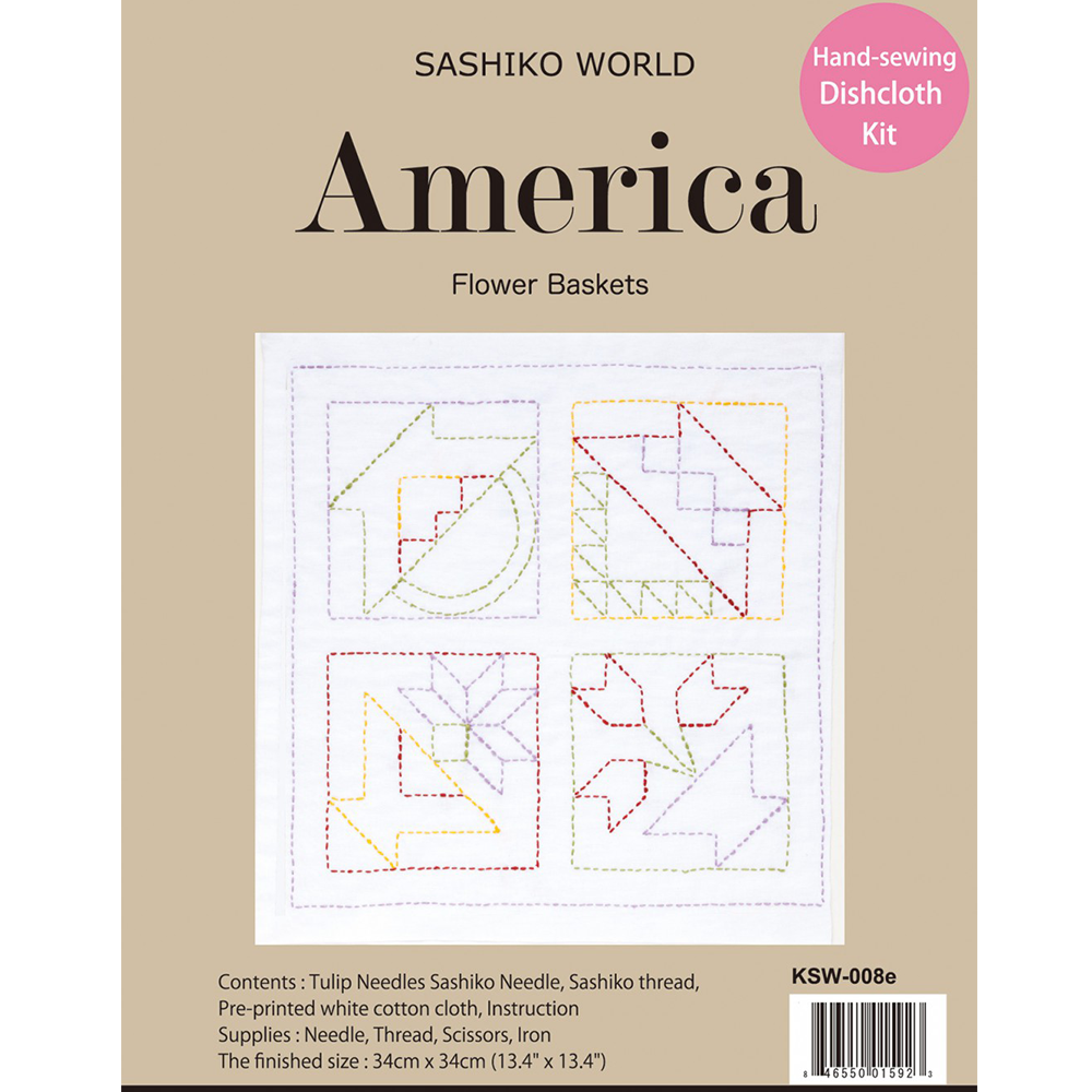 Sashiko World America Flower Baskets Sashiko Kit | Ann's By Design