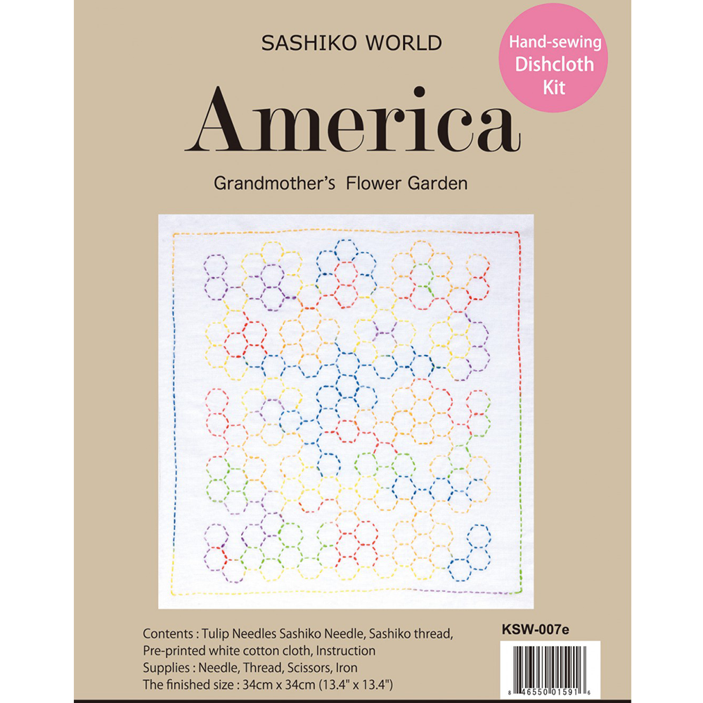 Sashiko World America Grandmother's Flower Garden Sashiko Kit | Ann's By Design