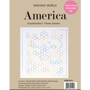 Sashiko World America Grandmother's Flower Garden Sashiko Kit