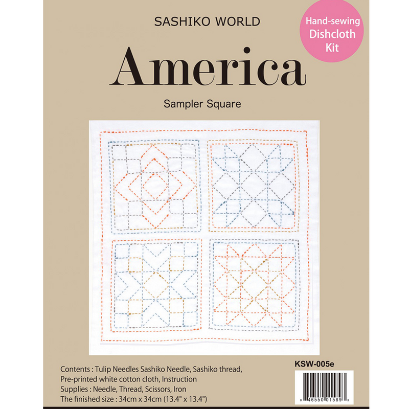 Sashiko World America Sampler Square Sashiko Kit | Ann's By Design