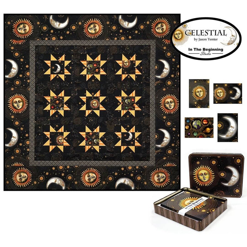 Celestial Note Cards Metal Tin with Quilt Panel by Jason Yenter | Ann's By Design
