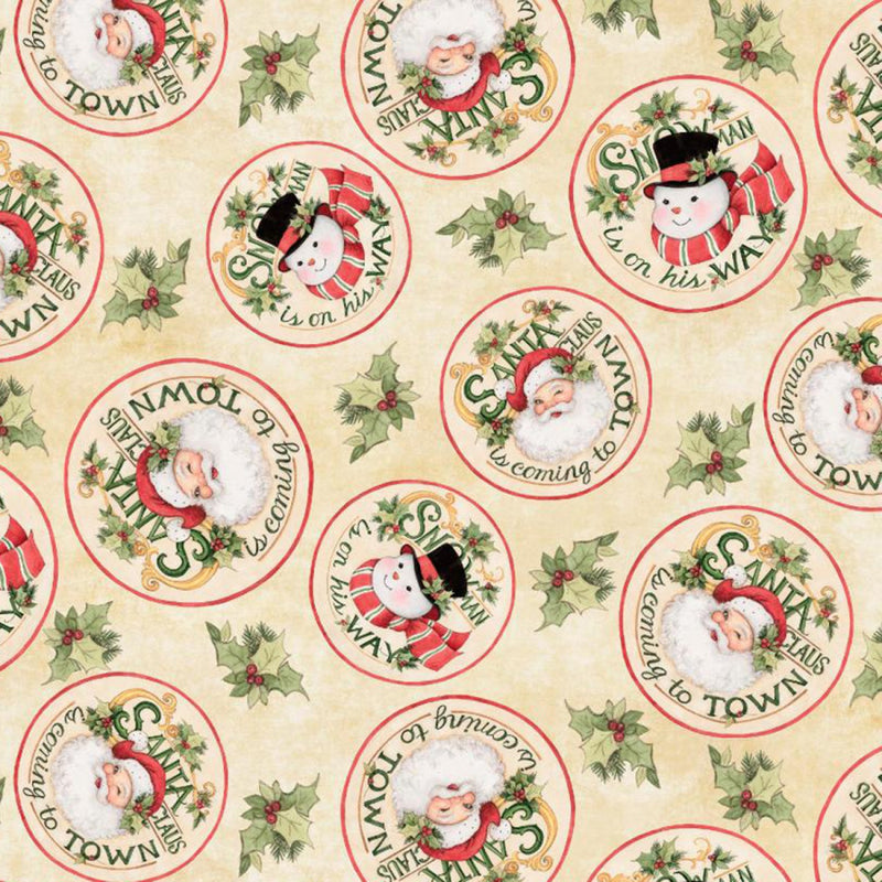 Christmas Retro Santa Snowman Circles Fabric Yardage 18002 | Ann's By Design
