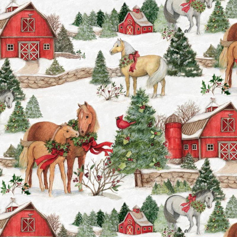 Christmas Two Horses Scenic Fabric Yardage 17348 | Ann's By Design