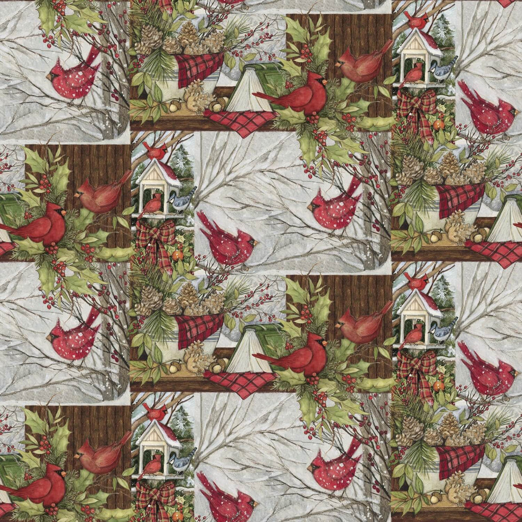 Christmas Window with Birds Multi Fabric Yardage 16312 | Ann's By Design