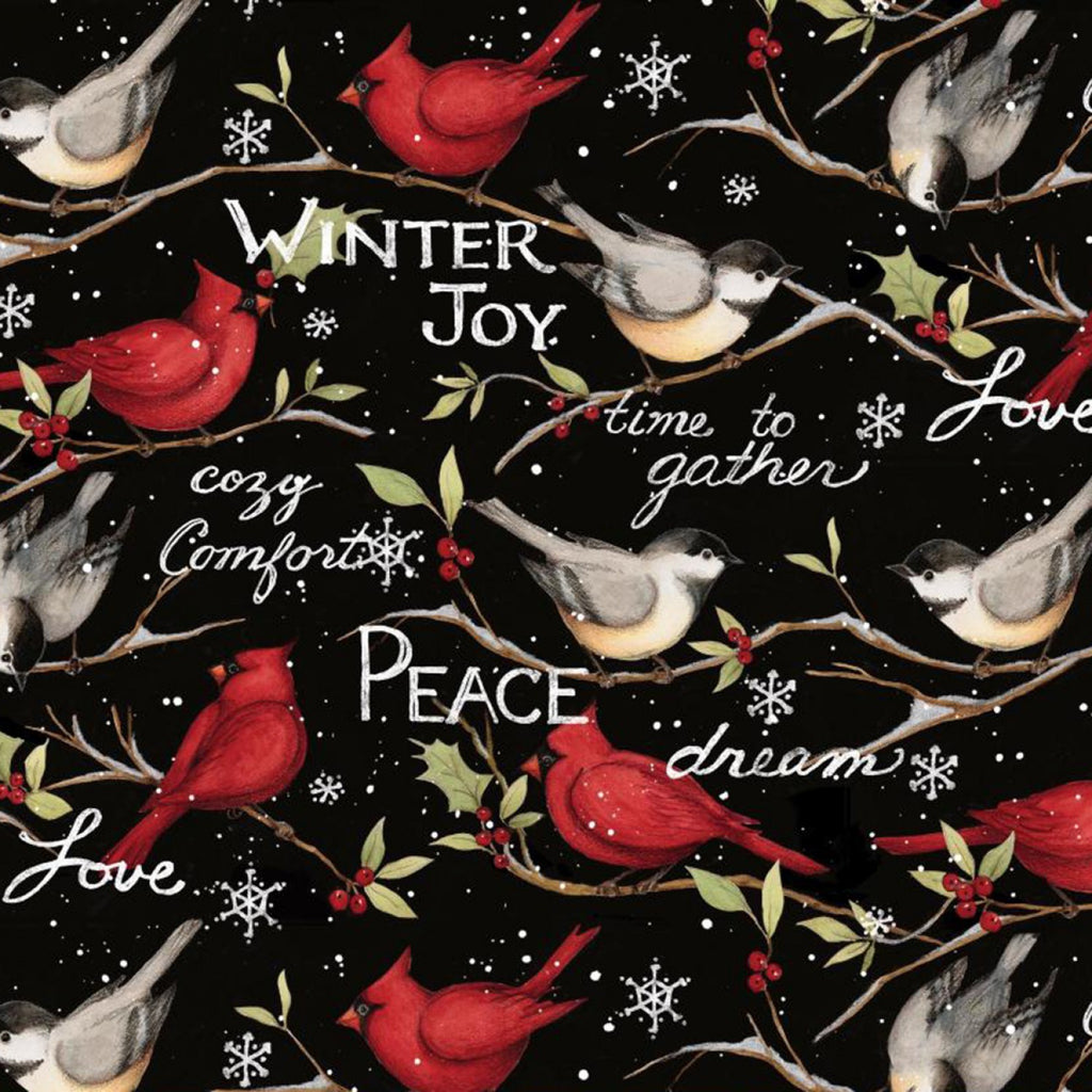 Christmas Winter Birds Black Fabric Yardage 17348 | Ann's By Design