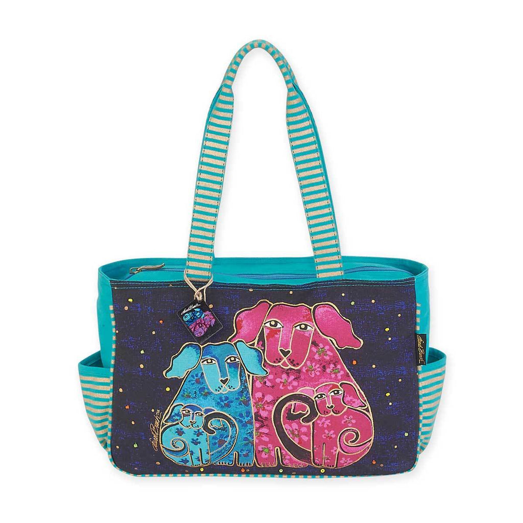 Laurel Burch Blossoming Pups Medium Tote Bag with Side Pockets LB5562 | Ann's By Design