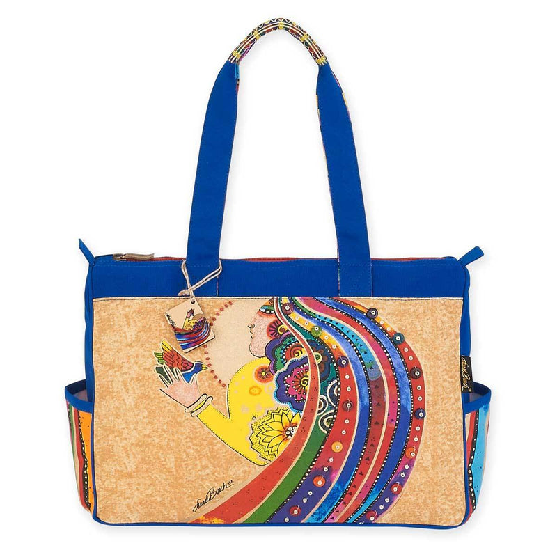 Laurel Burch Rose with Bird Medium Tote Bag with Side Pockets LB5792 | Ann's By Design