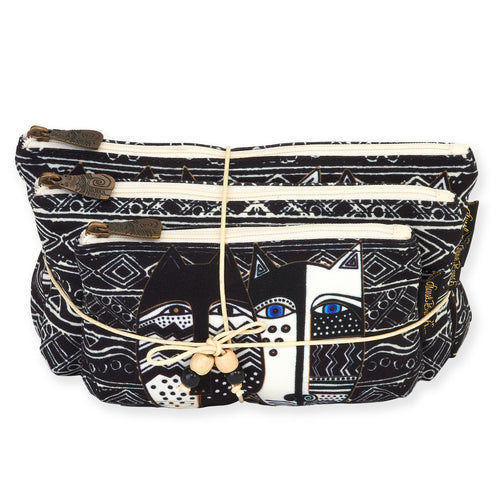 Laurel Burch Wild Cat Black & White 3pc Cosmetic Bags Set LB5804