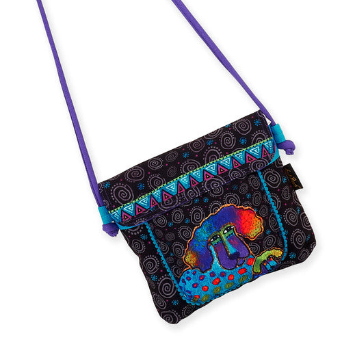Laurel Burch Poodle & Pup Flap Over Crossbody Tote Bag LB5904B | Ann's By Design