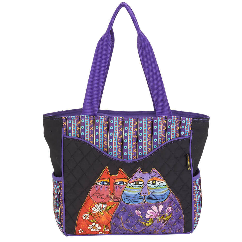 Laurel Burch Quilted Two Wishes Cats Shoulder Tote LB6000 | Ann's By Design