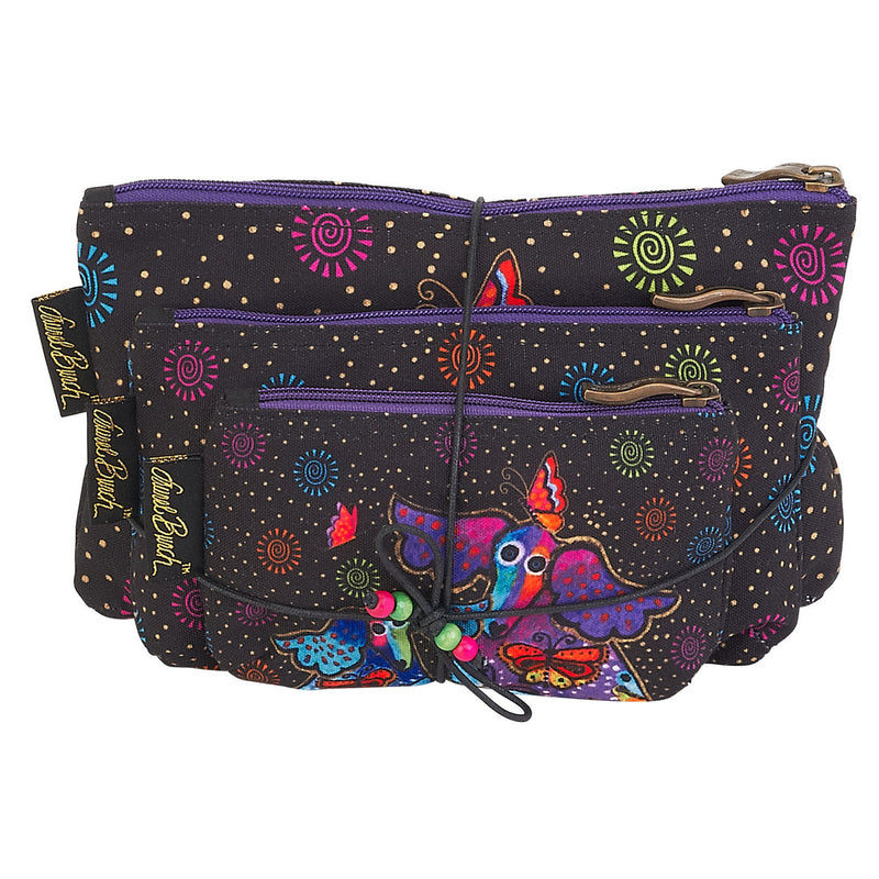 Laurel Burch Dogs & Papilliones 3pc Cosmetic Bags Set LB6220 | Ann's By Design