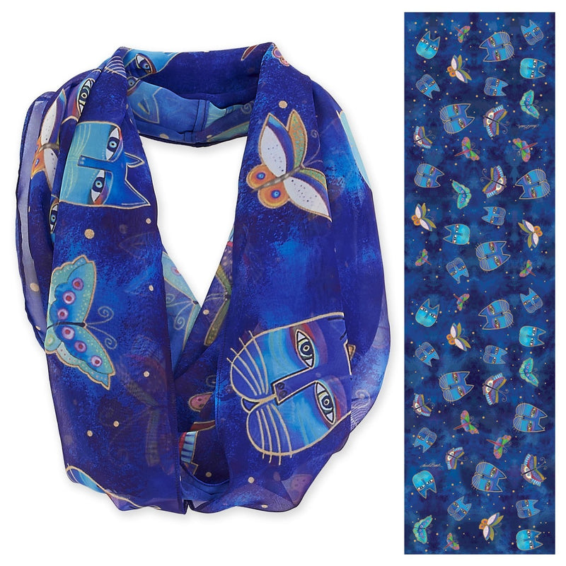 Laurel Burch Indigo Cats Infinity Scarf LBI200 | Ann's By Design