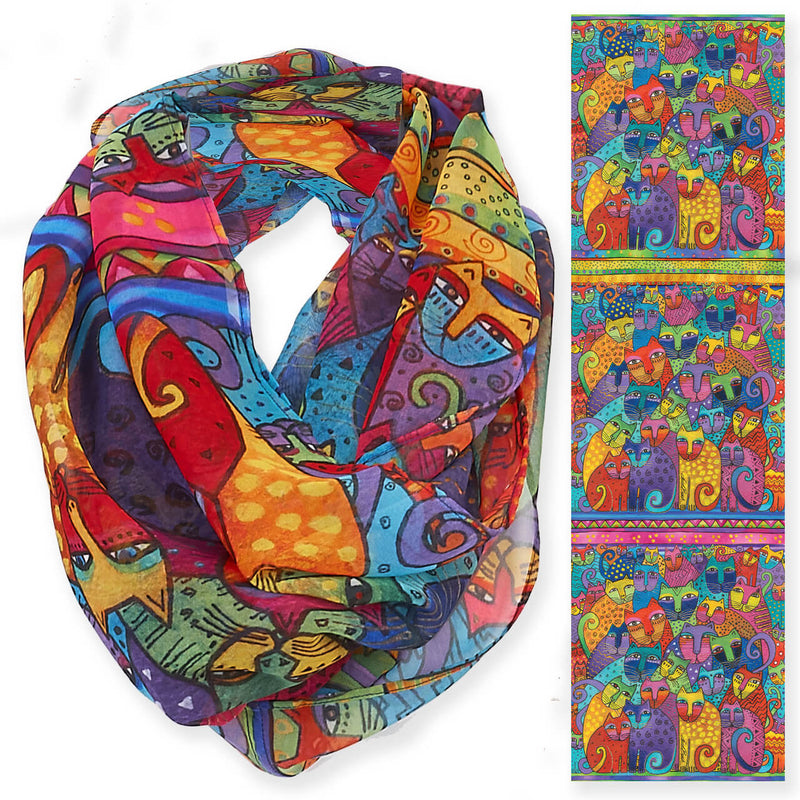 Laurel Burch Feline Tribe Cats Infinity Scarf LBI207 | Ann's By Design