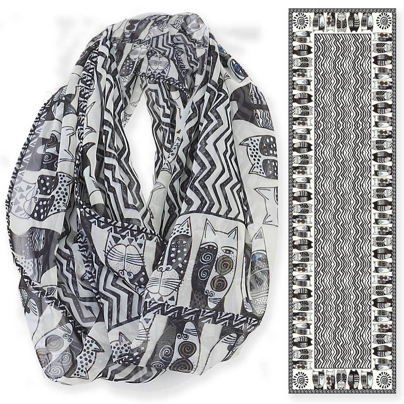 Laurel Burch Wild Cats Black & White Infinity Scarf LBI208 | Ann's By Design