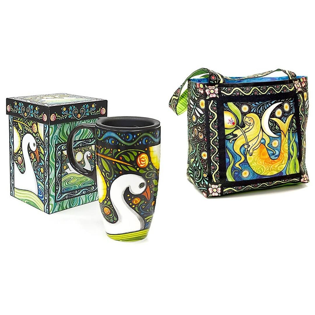 Oceanica Travel Mug with Lunch Tote Panel by Julie Paschkis | Ann's By Design
