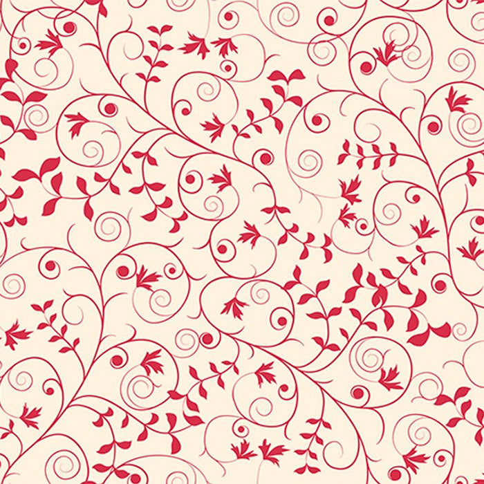 Our Father Scrolled Vine Red Fabric Yardage 24228-R | Ann's By Design