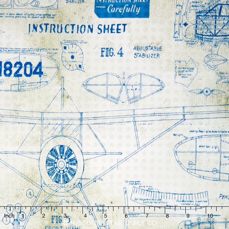 Eclectic Elements Correspondence Model Airplanes Blue Fabric Yardage PWTH050.8BLU | Ann's By Design