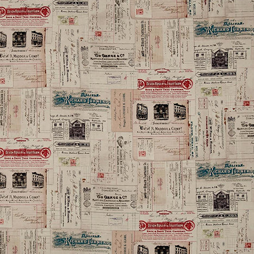Eclectic Elements Dapper Vintage Receipts Multi Fabric Yardage PWTH058.8MULT | Ann's By Design