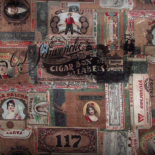 Eclectic Elements Dapper Cigar Box Labels Multi Fabric Yardage PWTH061.8MULT | Ann's By Design