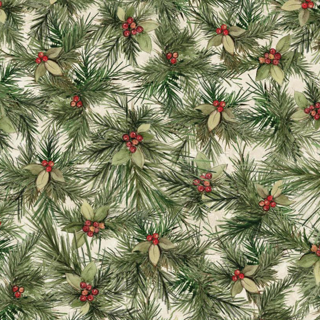 Christmas Red Truck Packed Pine Needles Fabric Yardage 17348 | Ann's By Design