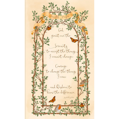 Quilting Treasures Serenity Prayer 24in Cream Fabric Panel