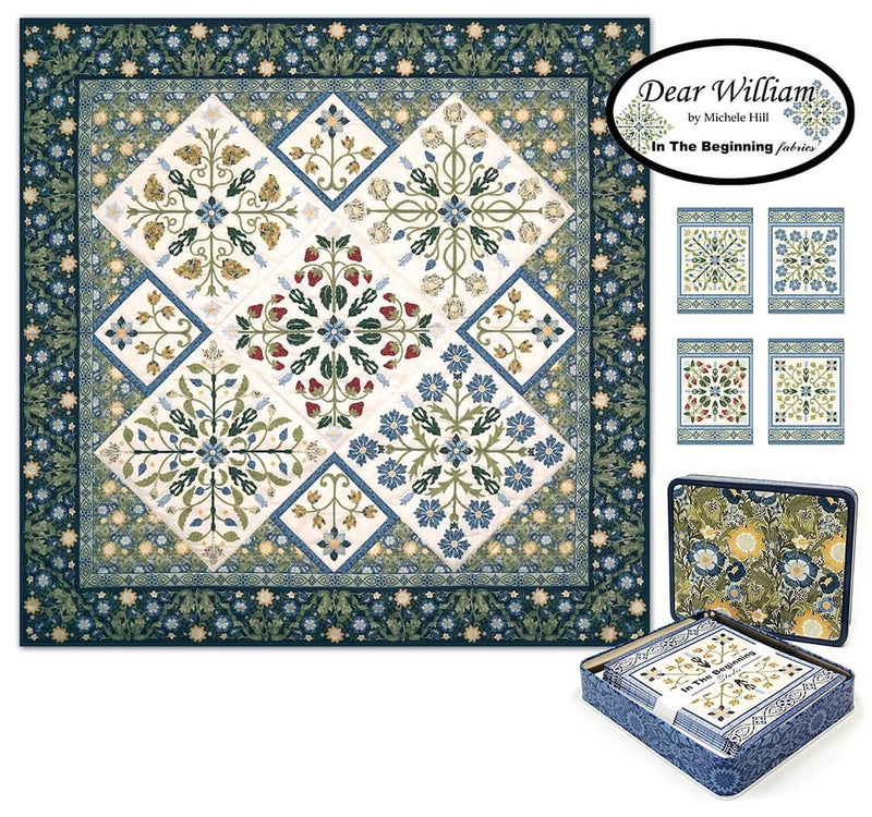 Dear William Note Cards Metal Tin with Quilt Panel by Michele Hill | Ann's By Design