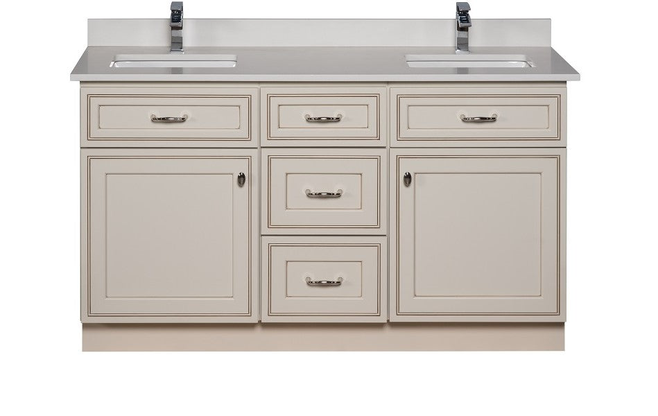 57 Inch Maple Wood Bathroom Cabinet in Pearl