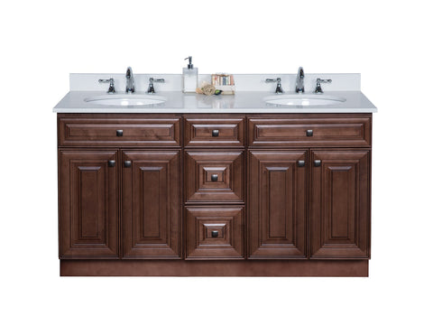 Dark Wood Cabinet with Two Sinks