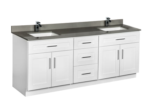 Double sink bathroom cabinet with a set of drawers