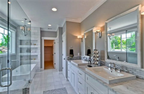 White Bathroom Cabinet with Vessel Sinks