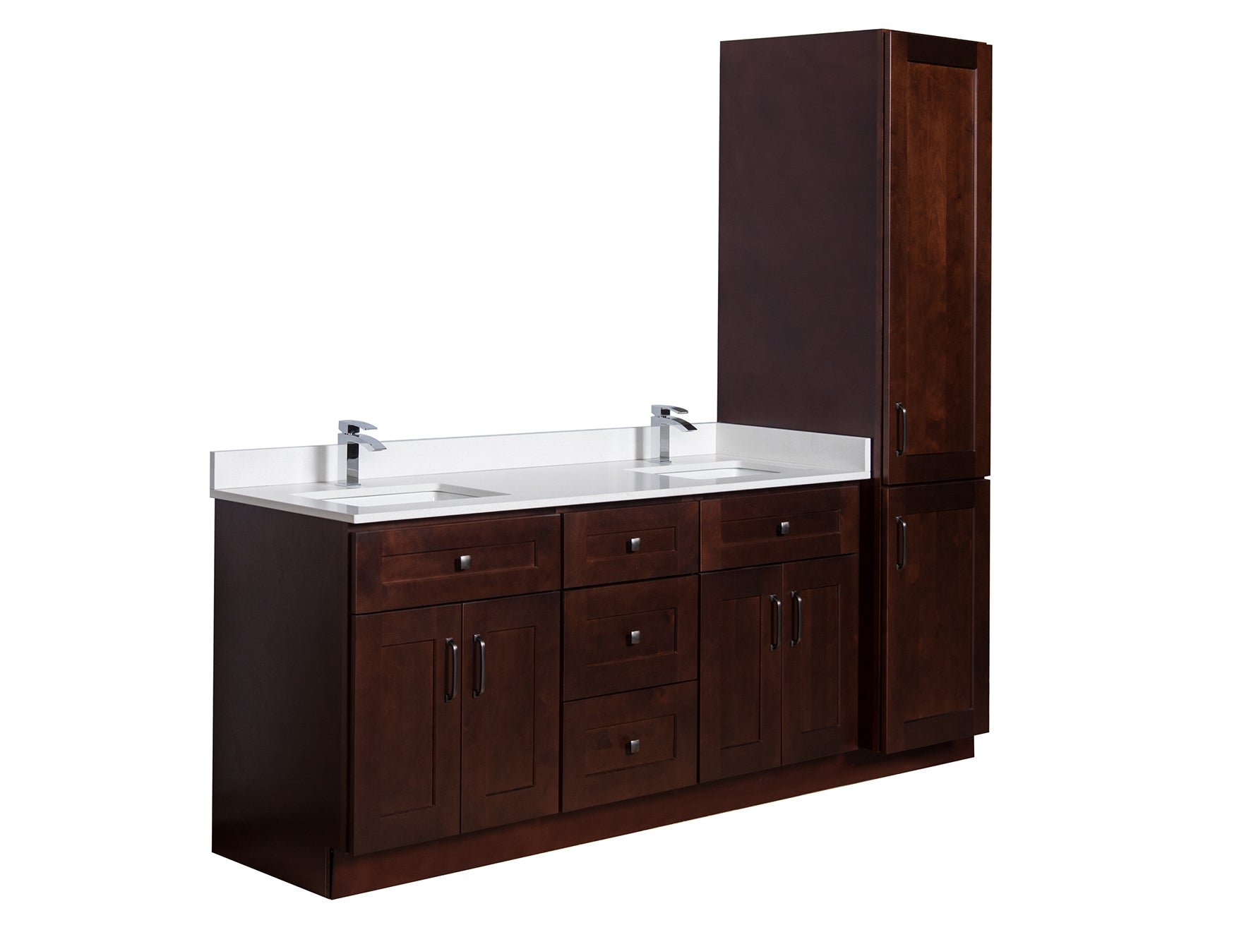 Double sink bathroom cabinet with storage tower