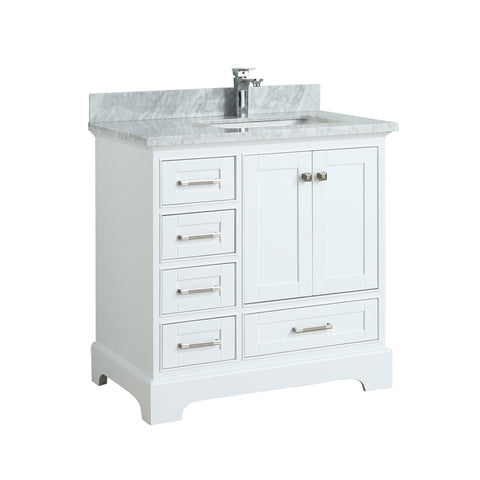 Maquinna Bathroom Vanity in Toga White - 36 Inch – Right Offset Basin