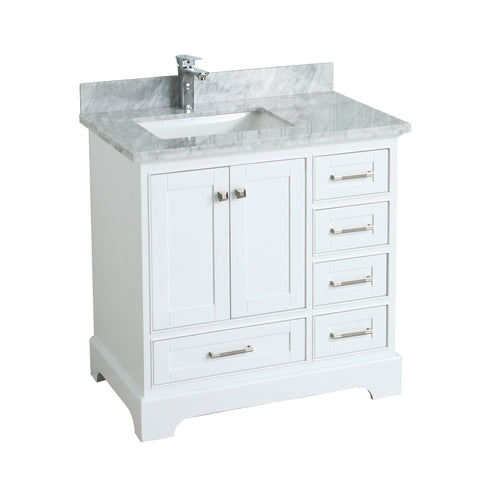 Maquinna Bathroom Vanity in Toga White - 36 Inch – Left Offset Basin