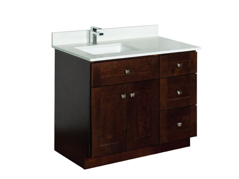 39 inch Offset Vanity Cabinet with Quartz Countertop