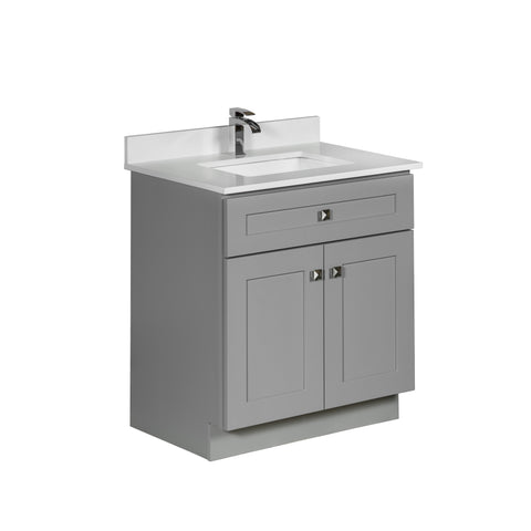 30 ̎ Maple Wood Bathroom Vanity in Grey