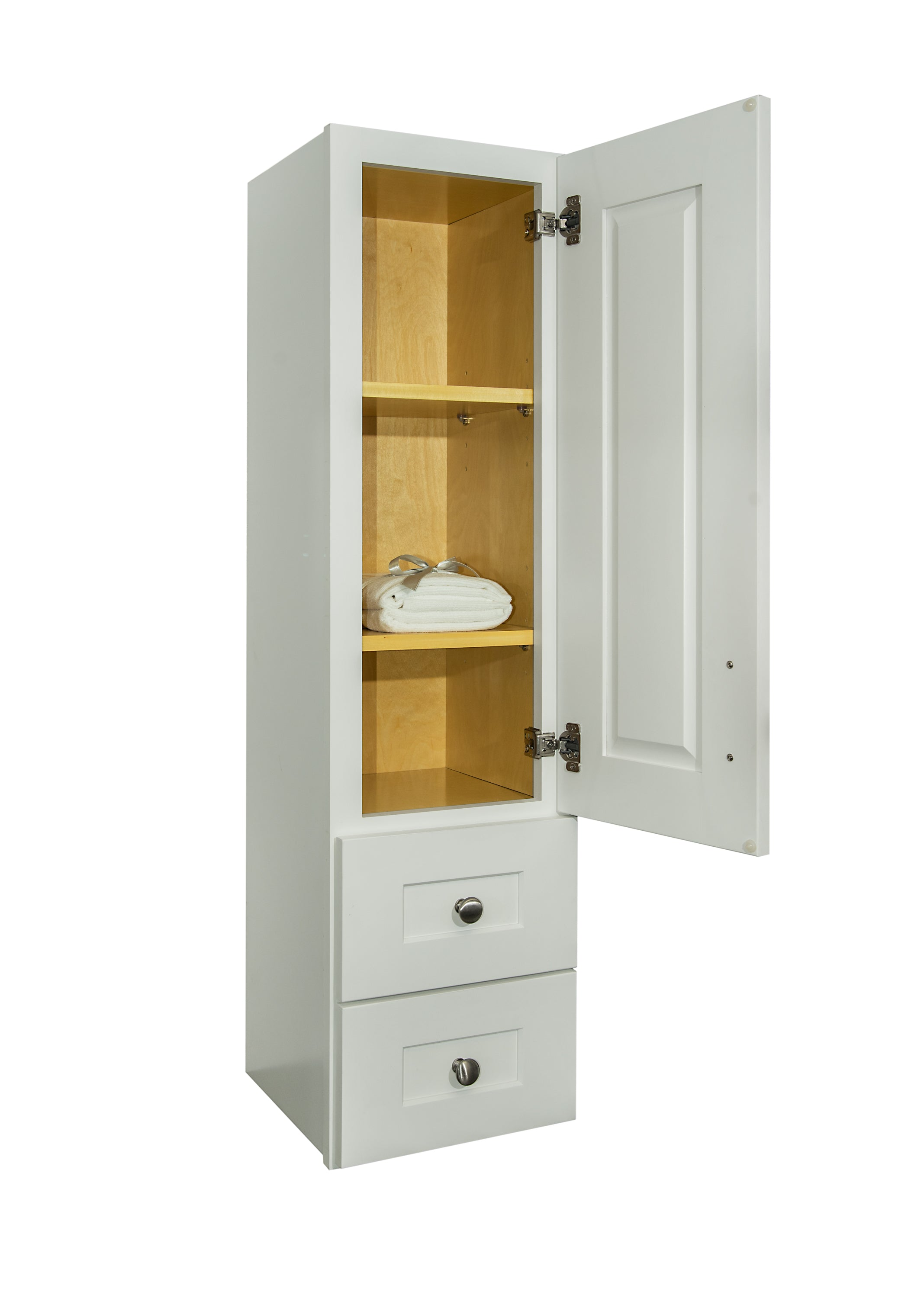 White Linen Cabinet with Wood Door - Semi-custom Collection ...