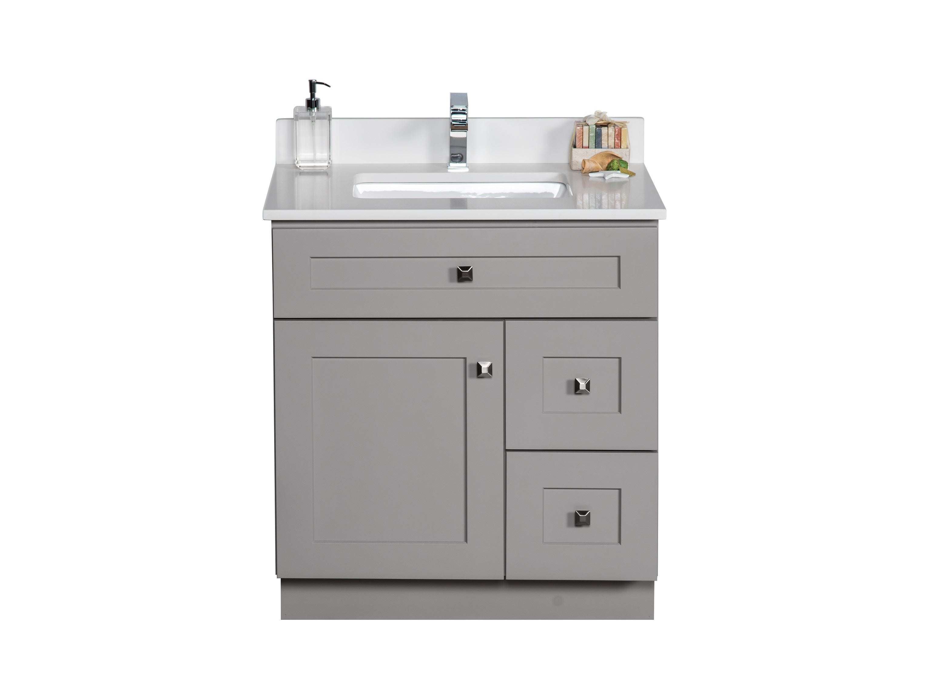 30 ̎ Maple Wood Bathroom Vanity in Grey   Combo – Broadway Vanities