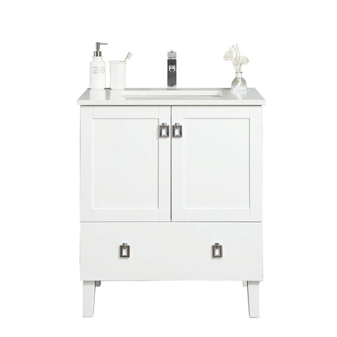 30 inch Bathroom Cabinet in White with Quartz Countertop