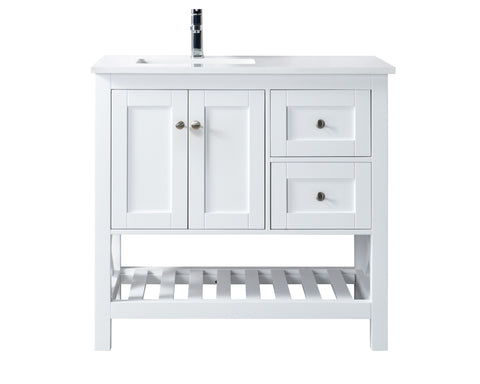 "36"" Taiya Bathroom Vanity in Toga White - Left Offset Sink"