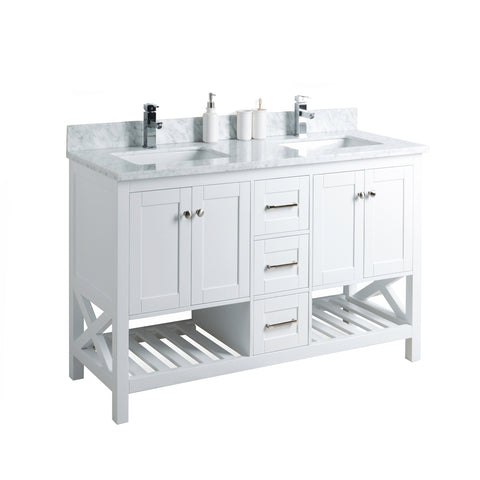 "54"" Taiya Bathroom Vanity in Toga White Double Sink"