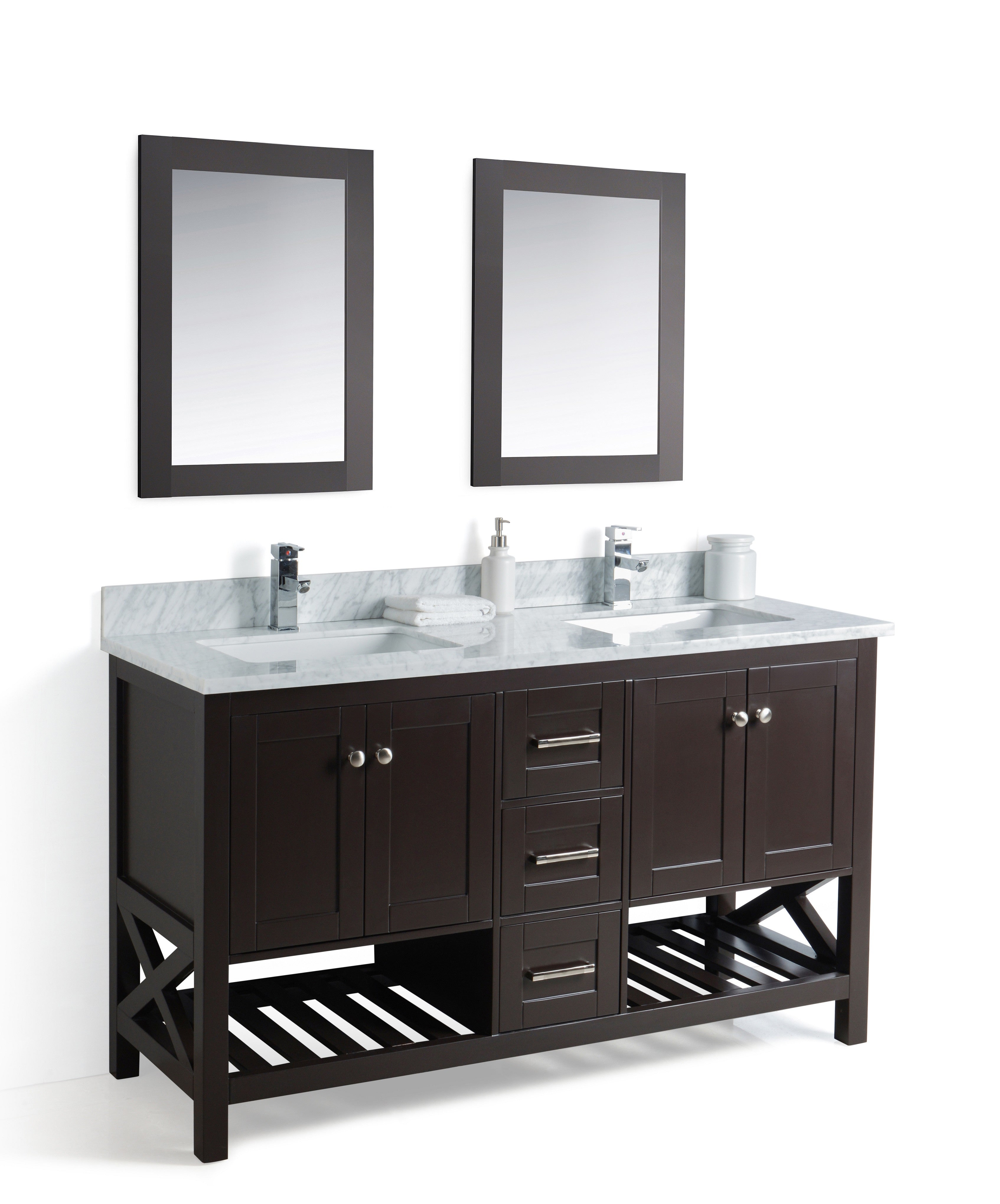 Taiya Bathroom Vanity in Espresso - 60 Inch - Double Sink – Broadway ...