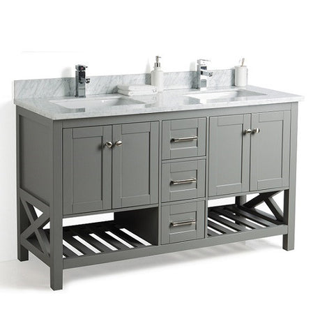 60 Inch Bathroom Vanity with Towel Shelf