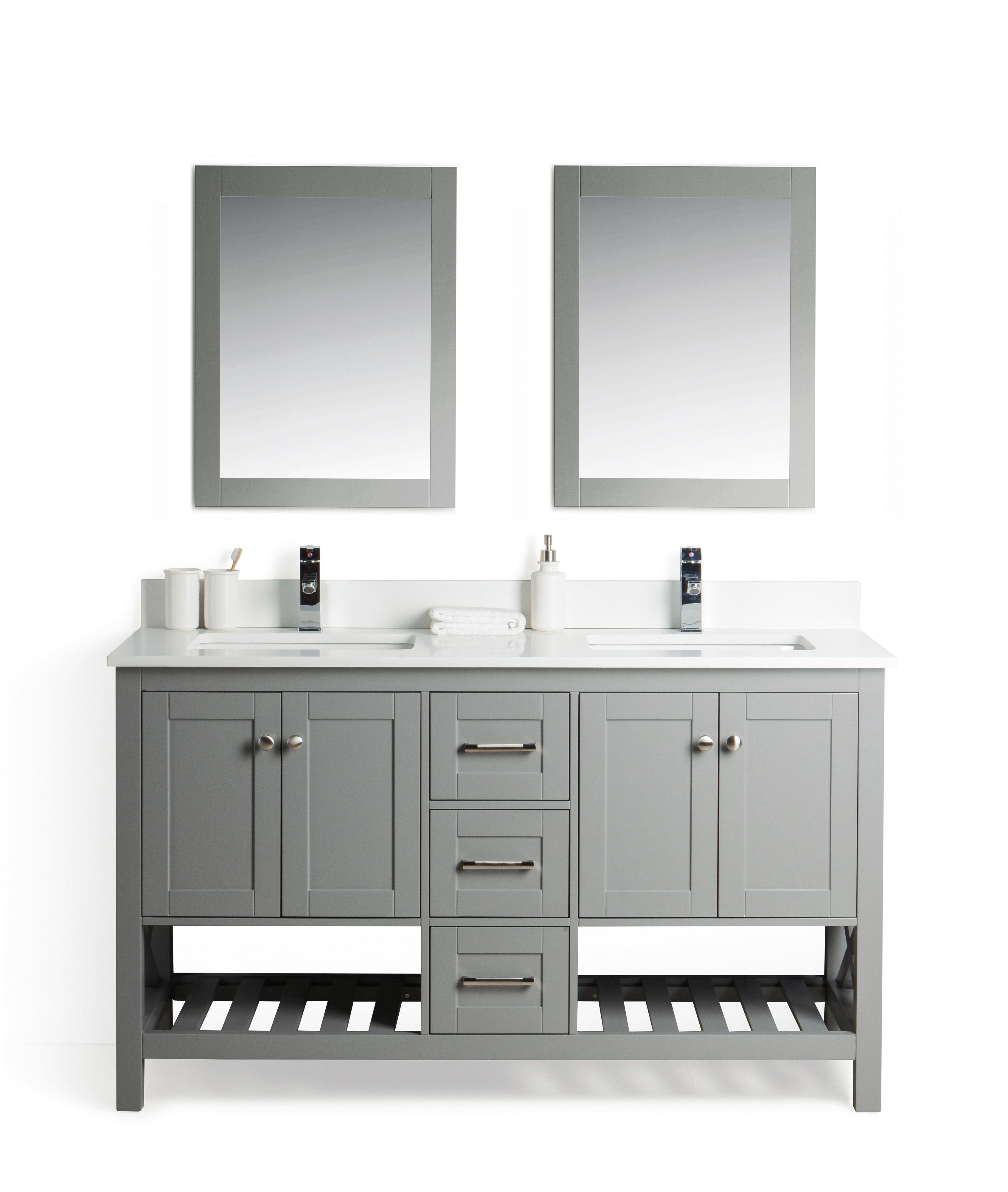 Taiya Bathroom Vanity in Grey Rock - 60 Inch - Double Sink ...