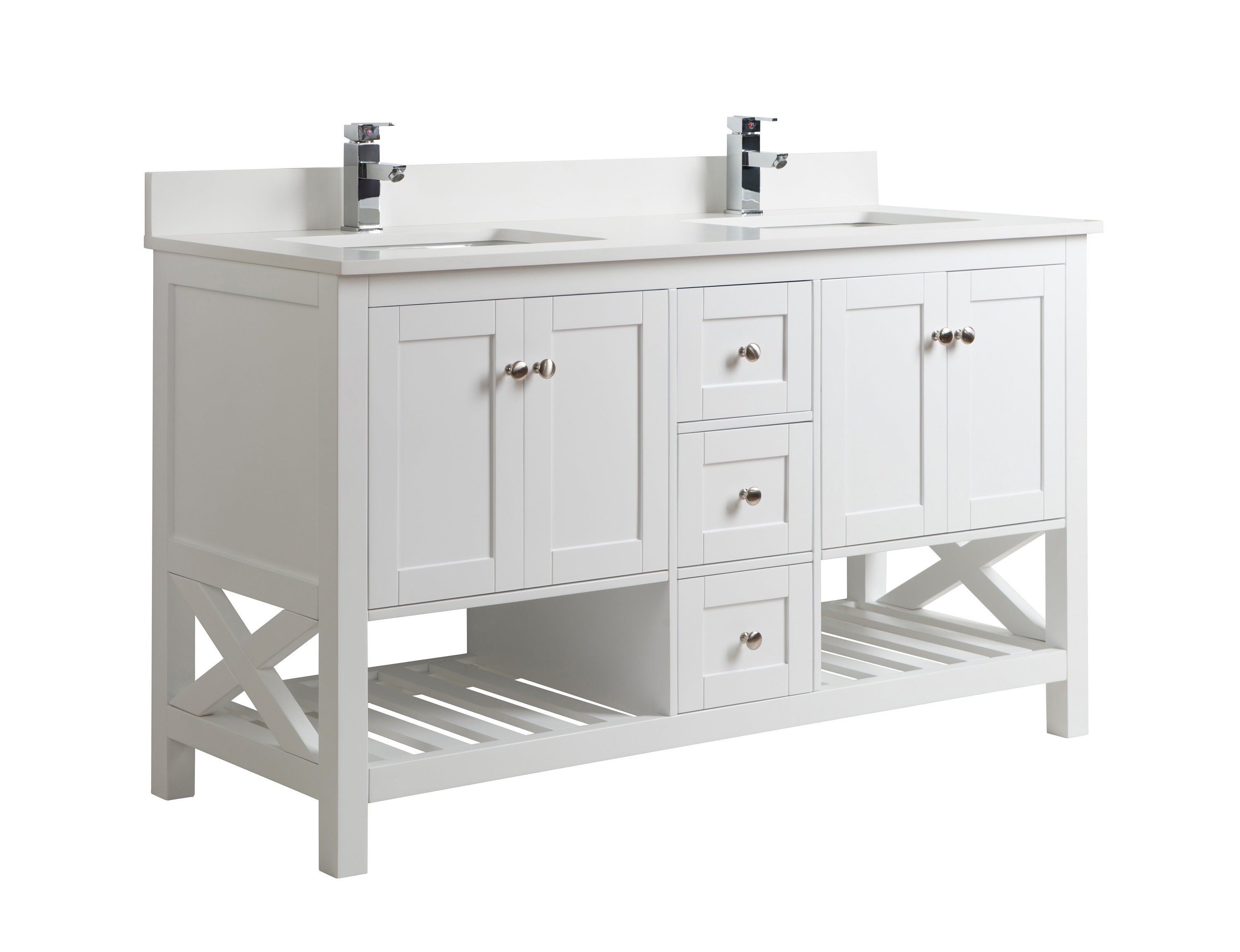 60 Inch White Bathroom Vanity Double Sink